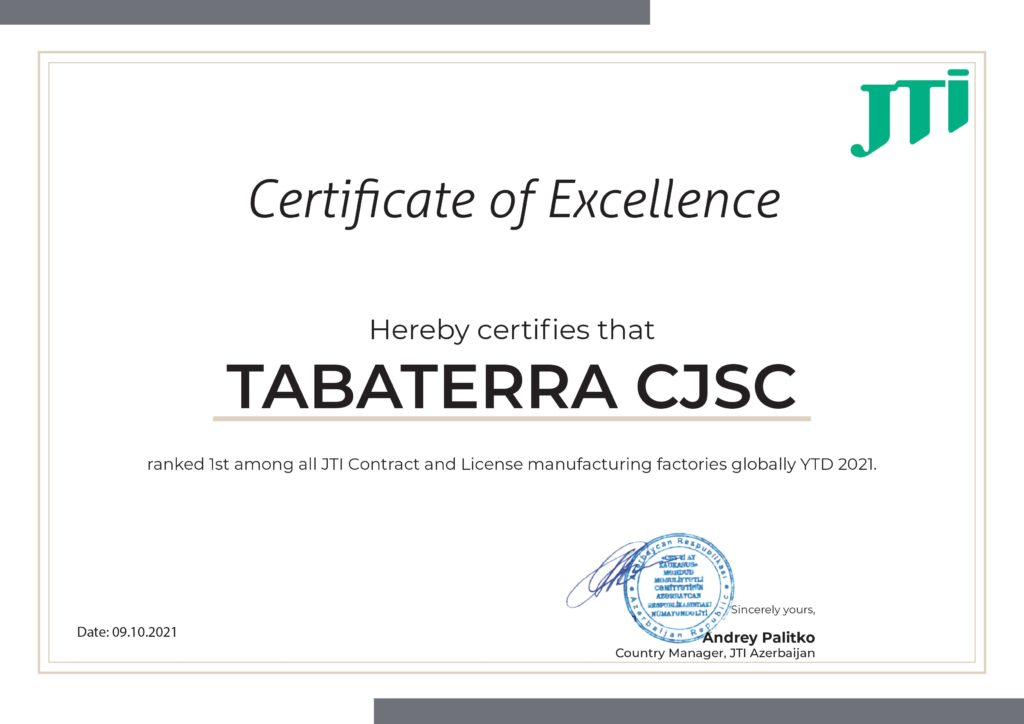 """Japan Tobacco International şirkəti yüksək nailiyyətlərinə görə """"Tabaterra"""" QSC-ni mükafatlandırdı."""