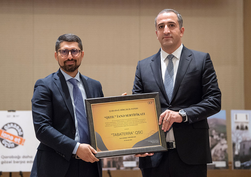 """""""Tabaterra"""" CJSC was awarded with """"Gold"""" certificate from Karabakh Revival Foundation."""